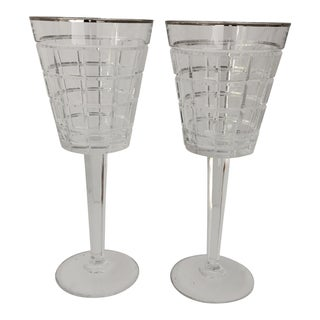 Modern Ralph Lauren Crystal Monaco Platinum Wine Glasses S/2 For Sale