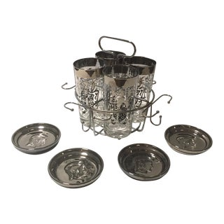 1970s Mid-Century Modern Guardian Glassware, Caddy and Coasters by Kimiko - Set of 9 For Sale