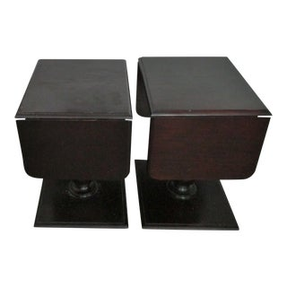 Davis Mahogany Drop Leaf Side Tables - a Pair For Sale