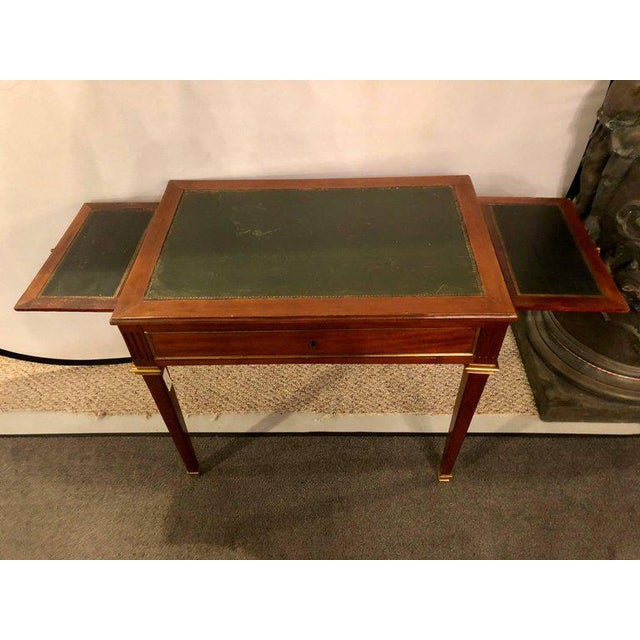 Louis XVI Dimenutive Leather Top Desk With Pull Out Sides And Bronze Mounts Stamped Jansen For Sale - Image 3 of 11