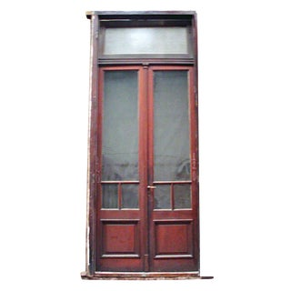 Spanish Wood Double Doors With Transom - A Pair