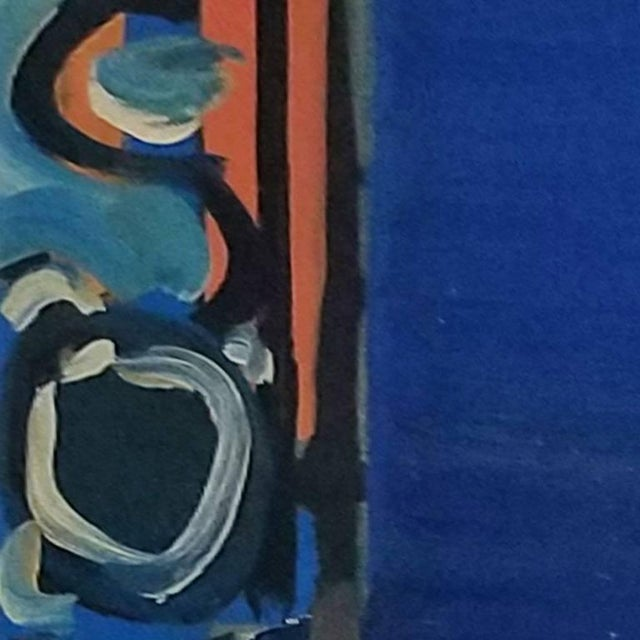 Abstract 20th Century Dark Blue Abstract Still Life Painting by Daniel Clesse For Sale - Image 3 of 4
