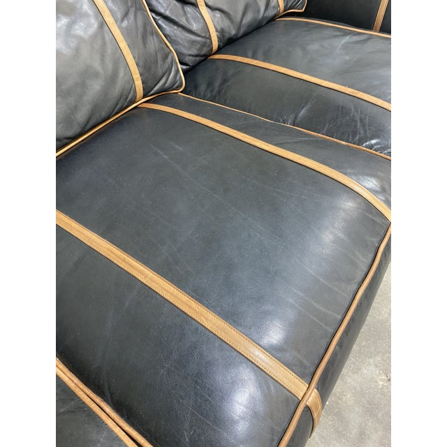 Michael Thomas Onyx Leather Sofa For Sale - Image 12 of 13