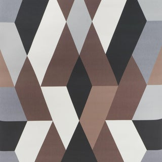 Schumacher X Clements Riberio Deco Diamonds Wallpaper in Carbon For Sale