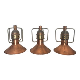 Copper and Brass Pendants From Santa Barbara Estate - Set of 4 For Sale