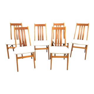 Vintage Mid Century Farstrup Solid Teak Dining Chairs- Set of 6 For Sale