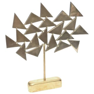 French Solid Brass Heavy Signed One of a Kind Geometric Sculpture For Sale