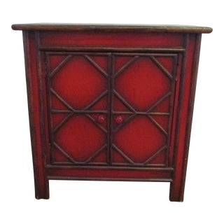 Asian Red Side Cabinet With Split Bamboo Accents For Sale