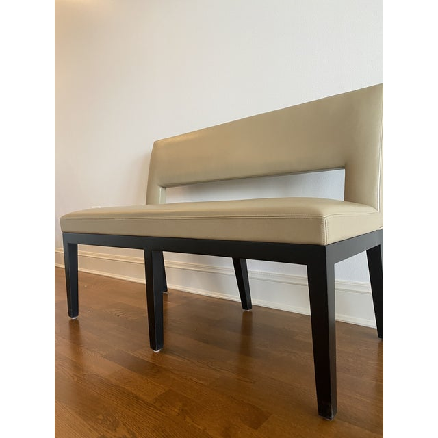Holly Hunt Christian Liaigre Leather Velin Banquette Bench For Sale In Chicago - Image 6 of 11