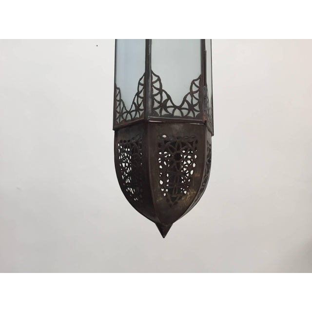 Mid Century Handcrafted Moroccan Moorish Milky Glass Pendant Light For Sale - Image 11 of 13