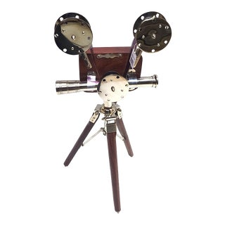 Vintage Nickel Plated Brass Movie Camera Projector on Wooden Tripod Stand Replica For Sale
