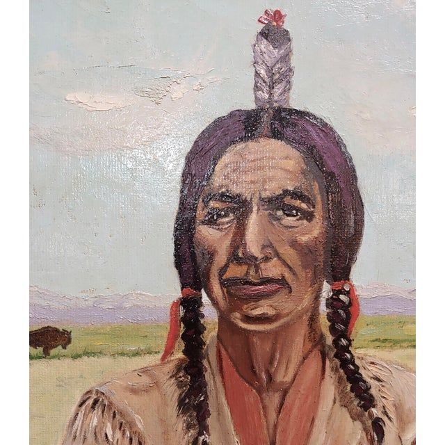Joseph Hoffman -Portrait of Chief Joseph -Native American Oil Painting For Sale - Image 4 of 9