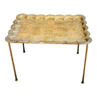 Vintage Indian Brass Tray Table For Sale
