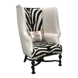 Hair-On-Hide Zebra Print Statement Chair For Sale
