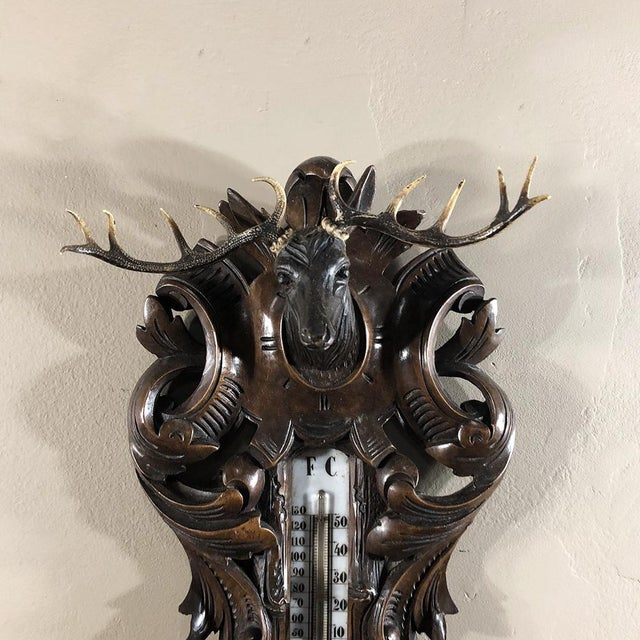 19th Century Black Forest Barometer - Thermometer For Sale - Image 4 of 12