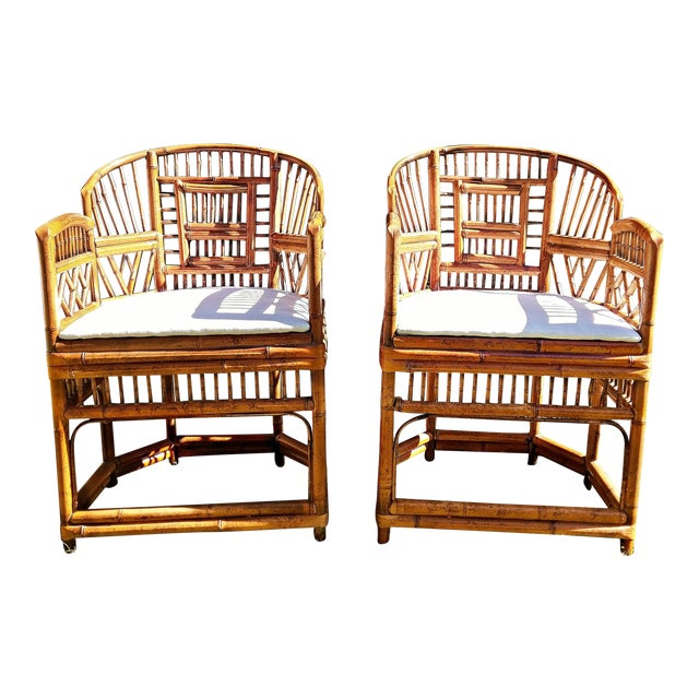 Vintage Mid Century Brighton Tiger Bamboo Chairs- A Pair For Sale