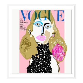 Vogue Cover July 1966 by Annie Naranian in White Frame, Small Art Print For Sale