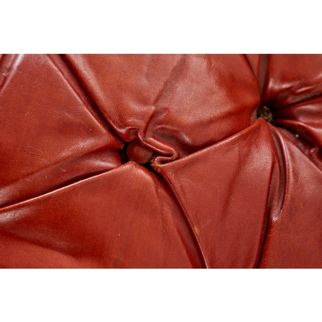 Burnt Orange Midcentury English Chesterfield Style Kidney Bean Leather Settee For Sale - Image 8 of 13