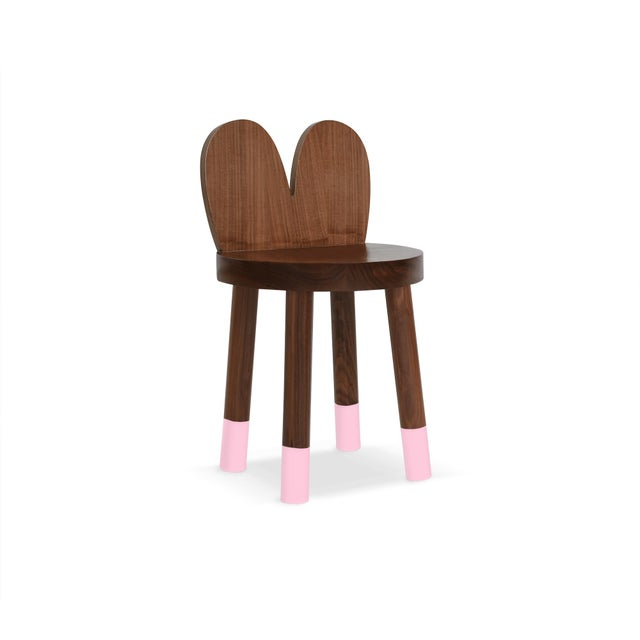 Children's Lola Kids Chair in Walnut With Pink Finish For Sale - Image 3 of 3