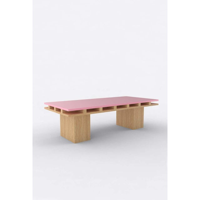 Orphan Work 101C coffee table, 2020 Shown in oak with color. Available in natural oak with painted base. Colors available:...
