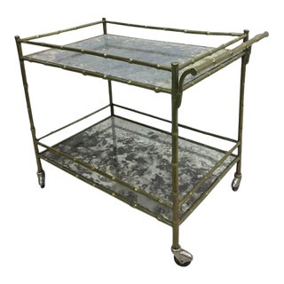 Elegant French Brass Faux Bamboo Bar Cart by Maison Bagues