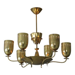 1950s Mid-Century Modern Polished Brass Chandelier For Sale