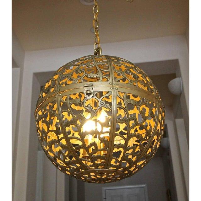 Asian Large Japanese Asian Pierced Filigree Brass Ceiling Pendant Light For Sale - Image 3 of 11