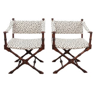 1960's Campaign Chairs in Kate Spade Fabric - a Pair For Sale
