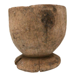 Oversized Rice Wood Mortar For Sale