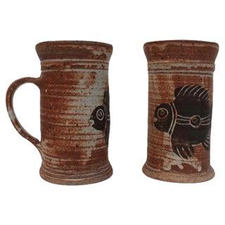 Crude Drip Glaze Mugs with Fish - A Pair