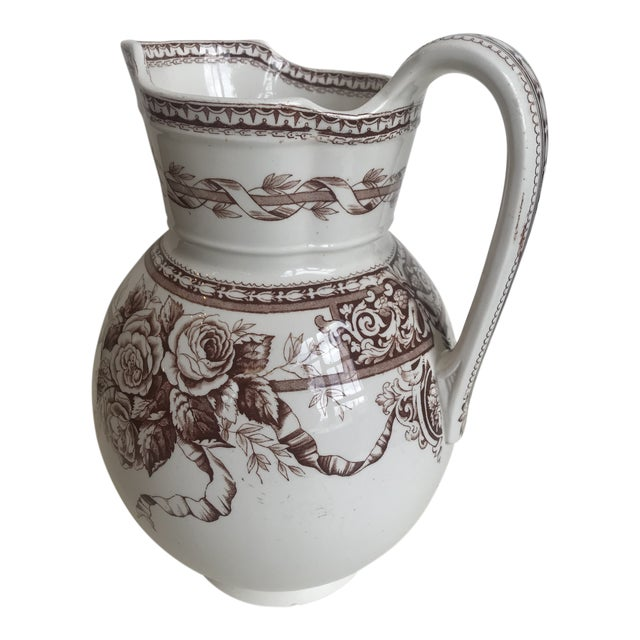 19th Century Large Scale Floral Ribbon English Ironstone Pitcher For Sale