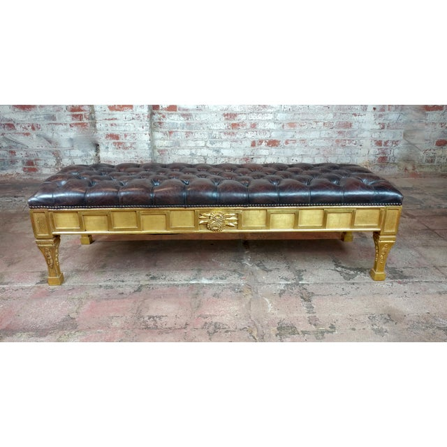French Empire Beautiful Tufted Leather Window Bench For Sale - Image 10 of 10