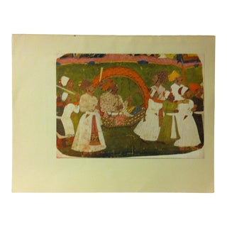 """1948 """"A Raja Carried in a State Palki"""" Mounted Color Print of a Rajput Painting For Sale"""