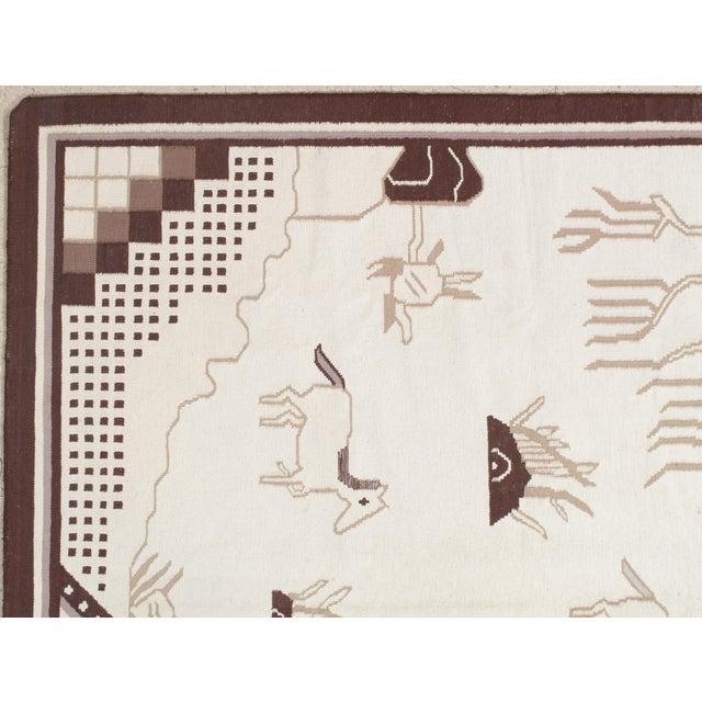 Mid-Century Modern Scandinavian Swedish Kilim 6'2x9 For Sale - Image 3 of 8