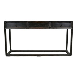 Black Elm Three Drawer Console For Sale