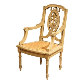 19th Century French Louis XVI Carved Painted Child Armchair With Cane Seat