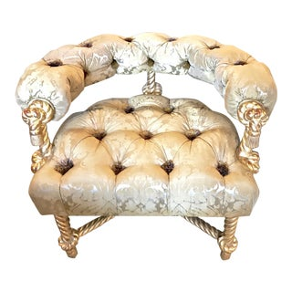 Napoleon III-Style Gilt Rope Carved Chair in Diamond Tufting by Kelly Wearstler