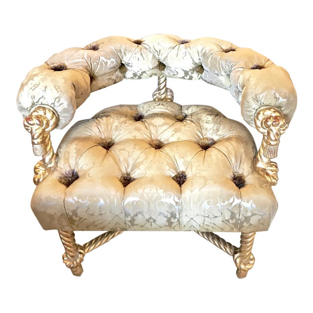 Napoleon III-Style Gilt Rope Carved Chair in Diamond Tufting by Kelly Wearstler For Sale