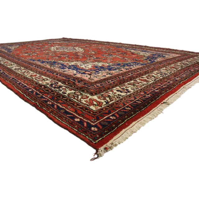 74944 Vintage Kabudarahang Hamadan Persian Palace Size Rug with Victorian Style. This hand knotted wool vintage Persian...