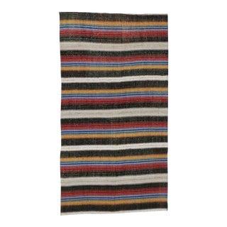 1960's Vintage Turkish Jajim Kilim Flat-Weave Striped Rug- 4′9″ × 8′10″