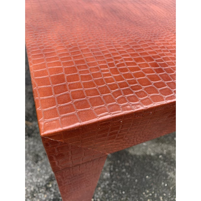 Wrapped Faux Crocodile Parsons Side Table For Sale In New York - Image 6 of 13