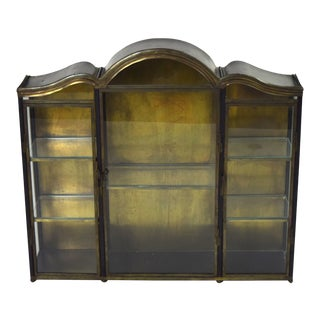 Vintage Tole Metal Curio Cabinet Wall Mounted Vitrine Glass Doors and Sides For Sale