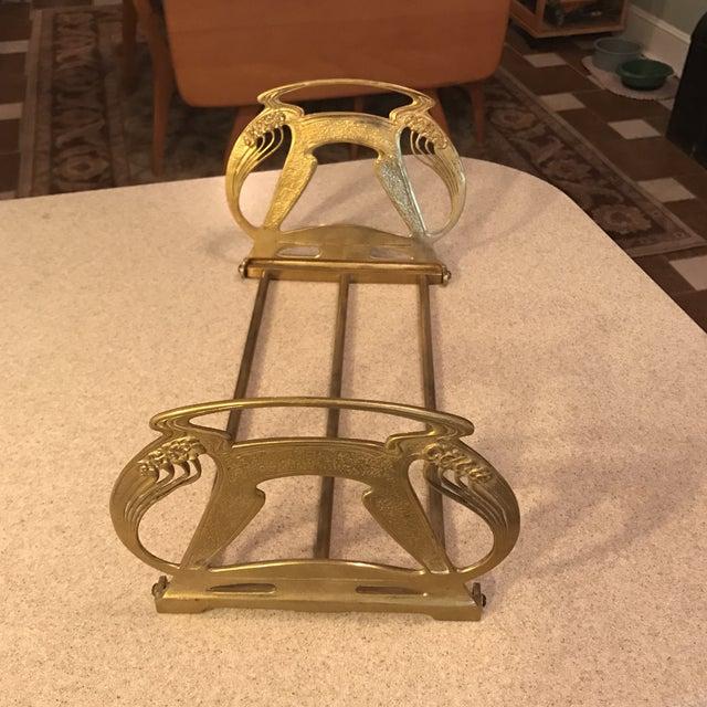 1920s Art Nouveau Brass Expandable Book Rack - Image 3 of 10