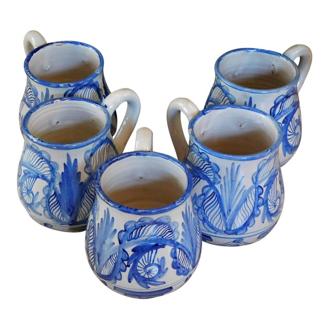 Hand Made Rustic Blue and White Studio Mugs - Set of 5 For Sale