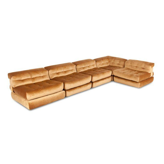 Textile Mah Jong First Edition Modular Sofa in Gold Velvet by Roche Bobois For Sale - Image 7 of 13