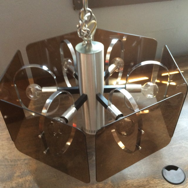 1970's Chrome and Smoked Lucite Pendant Lamp - Image 3 of 7