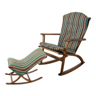 Mid-Century Norwegian Rocking Chair & Ottoman For Sale
