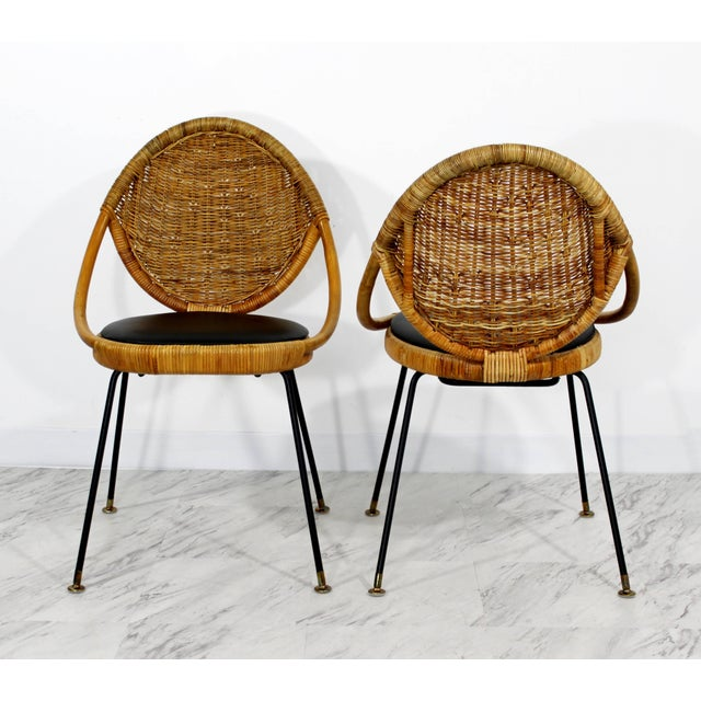 Mid-Century Modern 1960s Mid-Century Modern Danny Fong Rattan and Iron Patio Dining Set - 3 Pieces For Sale - Image 3 of 10