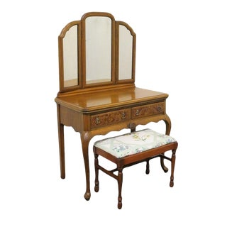 1920's French Regency Style Vanity W/ Mirror and Bench - 2 Pieces For Sale