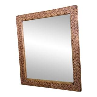 Island Style Wicker Braided Wall Mirror For Sale